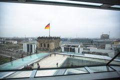 People visit the modern dome on the roof of the Reichstag. Stock Image