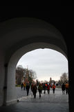 People visit Moscow Kremlin. Color photo. Royalty Free Stock Photos