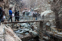 People visit mountains in Darband quarter Stock Photos