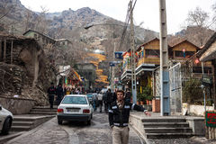 People visit mountains in Darband quarter Stock Photography