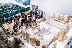People visit museum that was built on site of ancient Roman temple in ancient town Narona Stock Photography
