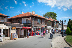 People visit the Old Town in  Nessebar, Bulgaria. Royalty Free Stock Photos