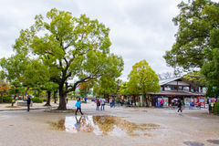 People visit Osaka Castle at Osaka castle park Japan Stock Photo