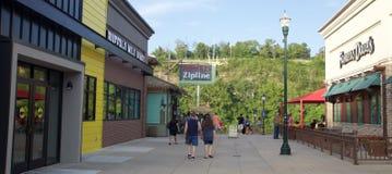 People visit Parakeet Pete's Waterfront Zipline at Branson Landing Stock Photos