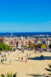 People visit the Park Guell in September 13, 2012 in Barcelona, Stock Images