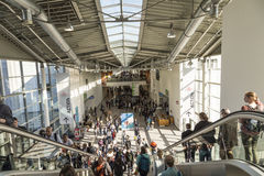 People visit the Photokina in Cologne Royalty Free Stock Photo