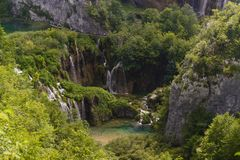 People visit the plitvice lakes by foot Stock Image
