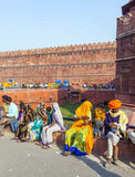 People visit the Red Fort in Delhi Stock Photo
