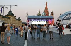 People visit The Red Square Book Fair in Moscow. royalty free stock photography