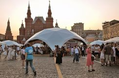 People visit The Red Square Book Fair in Moscow. stock photography