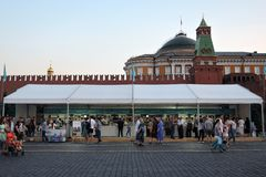 People visit The Red Square Book Fair in Moscow. stock images