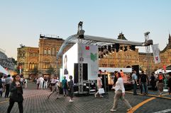 People visit The Red Square Book Fair in Moscow. Place: Moscow, Red Square. Free entrance public event. Color photo. Date: June 01, 2019 royalty free stock image