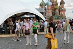 People visit The Red Square Book Fair in Moscow. stock photos