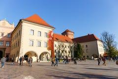 People visit Royal Wawel Castle in Krakow Stock Image