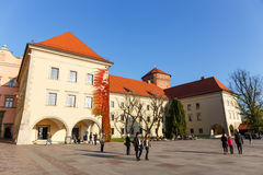 People visit Royal Wawel Castle in Krakow Royalty Free Stock Images