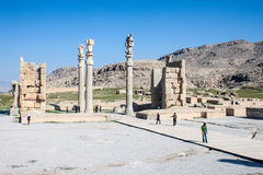 People visit  ruins of ancient Persepolis Stock Photo