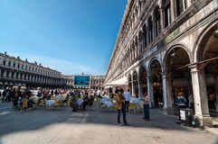 People visit San Marco square in Venice Stock Photo