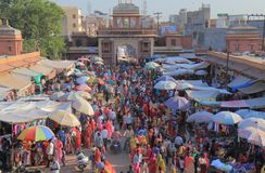 Street market Jodhpur India. People visit Sardar street market in Jodhpur India stock photo