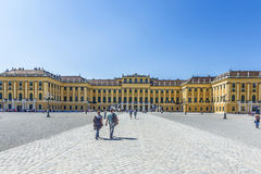 People visit Schonbrunn Palace in Vienna during sunny spring day Stock Images