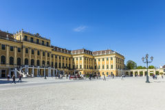 People visit Schonbrunn Palace in Vienna during sunny spring day Royalty Free Stock Photos