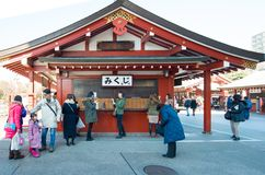 Tokyo, Japan - Jan 28 2016: People visit Sensoji Temple in Asakusa, Tokyo. Senso ji is a famous Buddhist temple in Tokyo,Japan Royalty Free Stock Photography