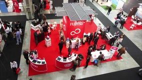 People visit SMAU, panoramic view. People visit SMAU trade show in Milano, Italy stock footage