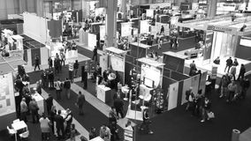 People visit SMAU, timelapse. People visit SMAU trade show in Milano, Italy stock footage