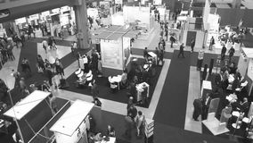 People visit SMAU. Trade show in Milano, Italy stock video footage