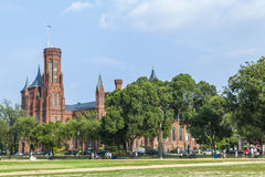 People visit Smithsonian Castle in Washington DC Stock Photography