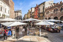 People visit the street markets in Verona Royalty Free Stock Photo