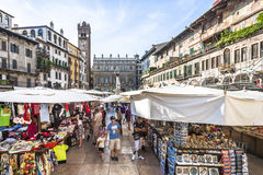 People visit the street markets in Verona Royalty Free Stock Photos