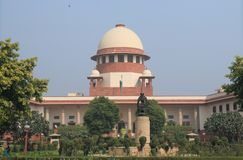Supreme Court of India New Delhi. People visit Supreme Court of India in New Delhi stock photography
