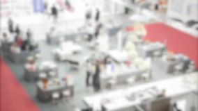 People visit a trade show stock video footage