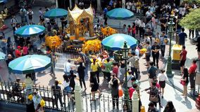 People visit and worship Erawan Shrine stock footage