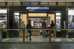 People visiting the Amazon Books store Stock Image