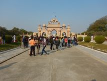 People Visiting Anand Vihar at Shegaon. A group of tourist and common people visiting an architectural wonder in Indian village Royalty Free Stock Photography