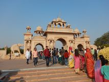 People Visiting Anand Vihar at Shegaon-2. A group of tourist and common people visiting an architectural wonder in Indian village Stock Photo