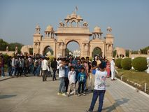 People Visiting Anand Vihar at Shegaon-7. A group of tourist and common people visiting an architectural wonder in Indian village Royalty Free Stock Photography