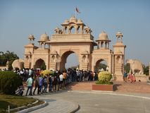 People Visiting Anand Vihar at Shegaon-8. A group of tourist and common people visiting an architectural wonder in Indian village Stock Photos