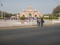 People Visiting Anand Vihar at Shegaon-10. A group of tourist and common people visiting an architectural wonder in Indian village Royalty Free Stock Photography