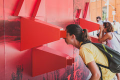 People visiting Angola pavilion at Expo 2015 in Milan, Italy Royalty Free Stock Photography