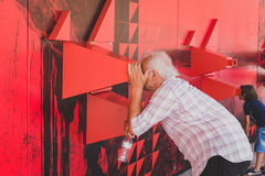 People visiting Angola pavilion at Expo 2015 in Milan, Italy Royalty Free Stock Photo