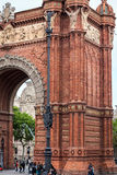 People are visiting Arc de Triomf located in Barcelona town, Catalonia, Spain Royalty Free Stock Photography