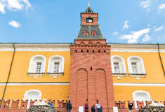 People visiting Armory Tower, one of the Kremlin walls towers in Moscow Stock Photos