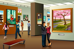 People Visiting an Art Gallery vector illustration