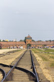 People visiting Auschwitz II -Birkenau Extermination camp Royalty Free Stock Photo