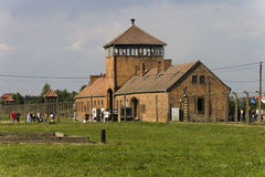 People visiting Auschwitz II -Birkenau Extermination camp Stock Photography