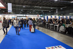 People visiting Bit 2014, international tourism exchange in Milan, Italy Stock Photo