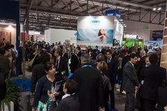 People visiting Bit 2014, international tourism exchange in Milan, Italy Royalty Free Stock Photos