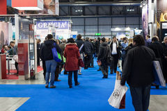 People visiting Bit 2014, international tourism exchange in Milan, Italy Royalty Free Stock Image